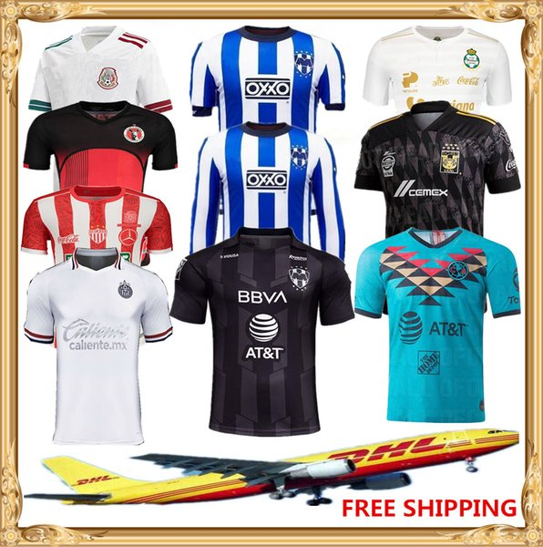DHL Free shipping 2019 2020 LIGA MX Club America soccer Jersey 19 20 Chivas Tigres Club Santos Tijuana soccer Jersey Size can be mixed batch