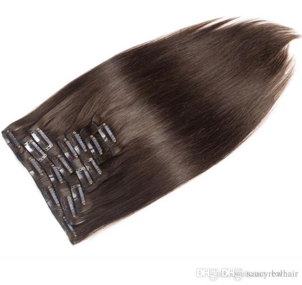 Malasia, Color Marrón Oscuro 2 # Clip Recto para el Cabello Humano en Extensiones de Cabello Sin Procesar La Belleza teje 10 Unidslote 100g mucho