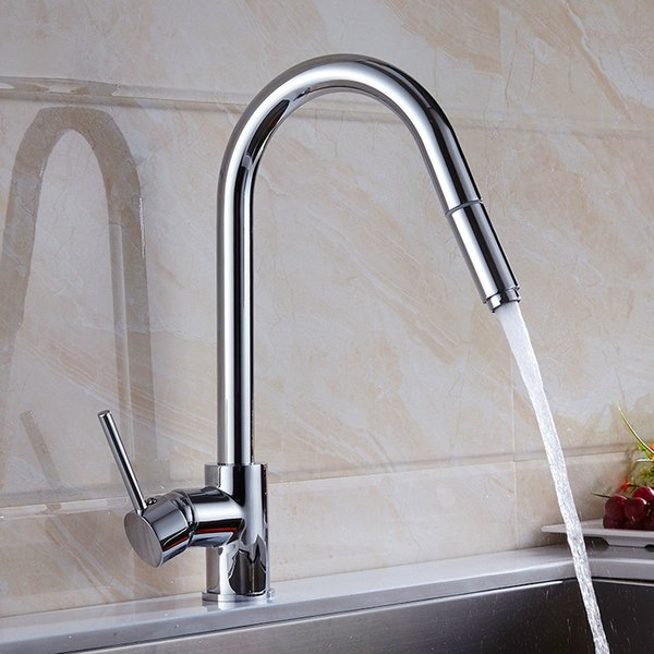 Kitchen Faucet Brass Chrome/Nickel/Black Sink Mixer Tap Pull Out Shower Head Single Handle Swivel Deck Mounted Kitchen Water Tap