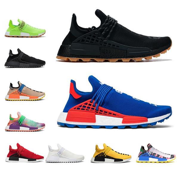 Acheter Adidas Nmd Human Race Hu Piste X Pharrell Williams Hommes Chaussures De Course En Dentelle Noire Jaune Toile Vierge Mens Formateurs Femmes