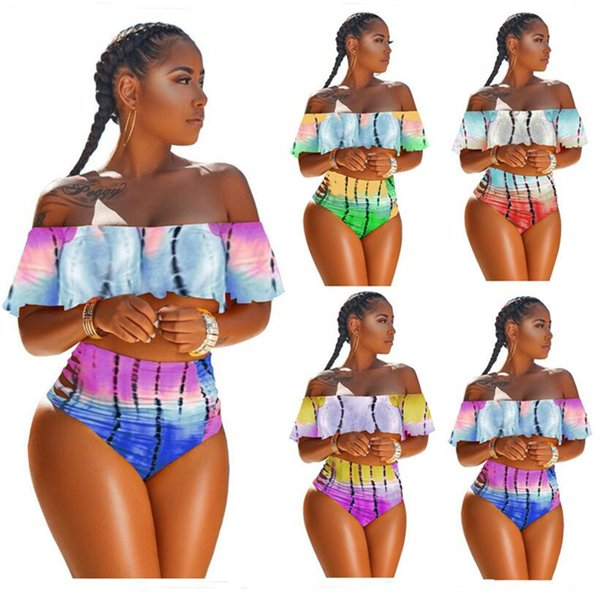 Women Flouncy Swimsuit Tie-dyed Strapless Top + Hipster 2 Piece Bikinis Set Designer Swimwear Off Shoulder Falbala Ruffle Swimsuits A353