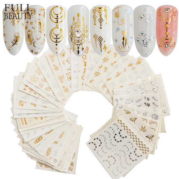 Full Beauty 30pcs Gold Silver Nail Water Sticker Feather Flower Spider Design Decal For Nails Decoration Nail Art Manicure CHY C19011601