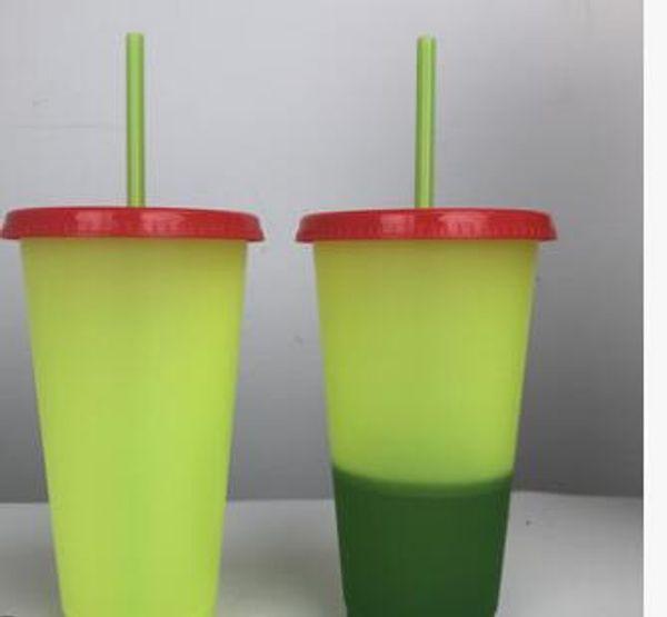 SANS BPA! Tasse à boire en plastique magique de gobelets à couleurs changeantes de 24 oz avec couvercle et paille Tasse à café magique aux couleurs de bonbon Logo personnalisé!