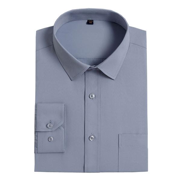 Плюс Размер XXXL 4XL 5XL 6XL Solid Gray Thin Twill Бизнес Формальные Мужские рубашки с длинным рукавом Элегантные рубашки Бизнес Мужчины Офис Работа