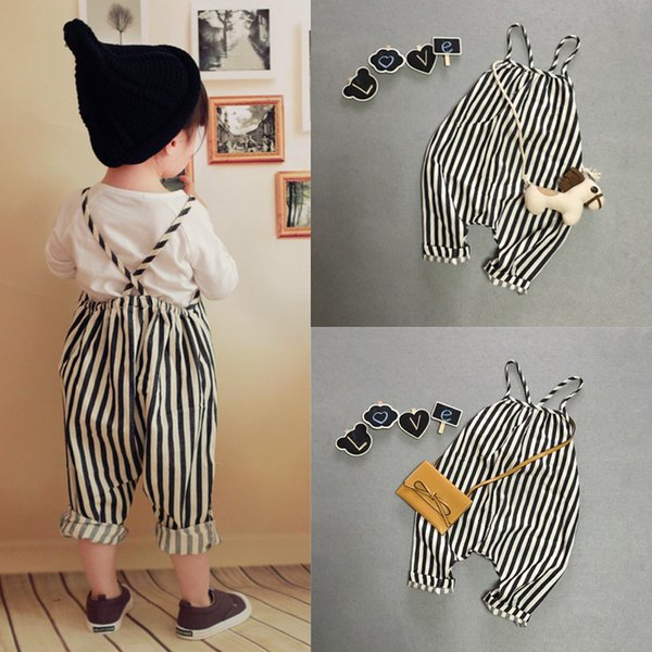 UK Cute Baby Kids Girl Summer Clothes Striped Romper jumpsuit Suspender Trousers