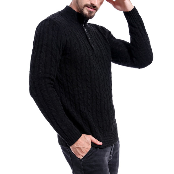 2019 Autumn Winter Men Fashion Soild Sweaters Pullover Cotton Long Sleeve Button Turtleneck Knitted Sweater Male Casual Slim Top