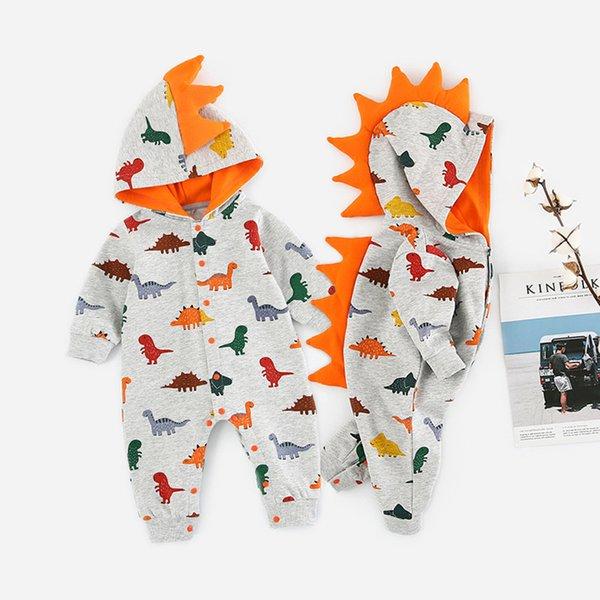 trendy dinosaurier design serrate mit kapuze overall für baby 2019 frühling herbst Cartoon Neugeborenen Jungen Kleidung Kostüm Baumwolle Overall für kinder