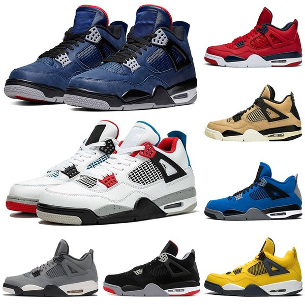 2020 What The 4 4s Men Basketball shoes Loyal Blue bred cool grey Mushroom Lightning fire red Neon outdoor mens trainers sports sneakers