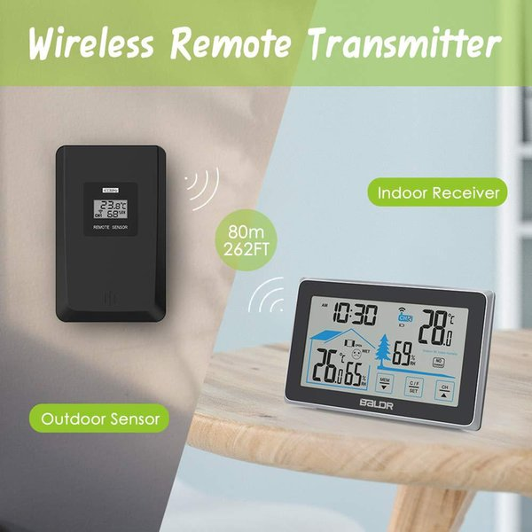 Medidor de Medidor de Medidor de Umidade Ao Ar Livre Indoor Sem Fio Estação Meteorológica, higrômetro Digital Termômetro Relógio Barmeter Wall Home Decor Presente