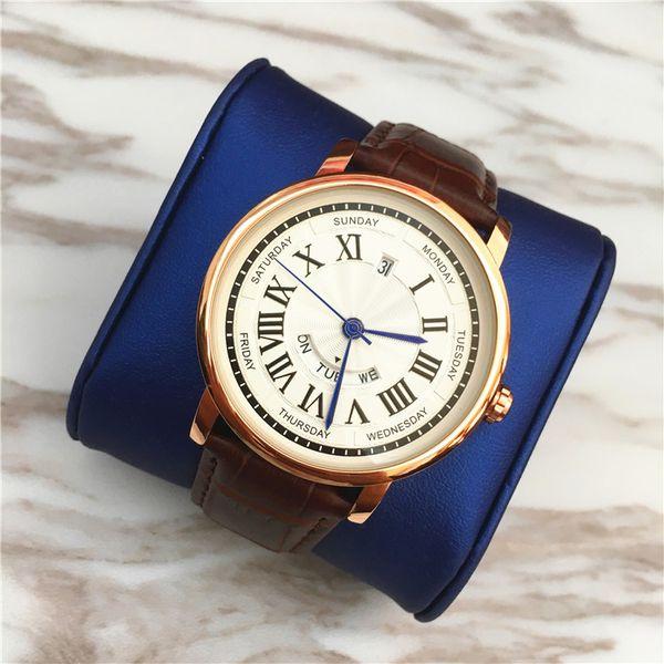 Top Fashion Marke Frau Uhren Auto-Kalender-Mann-Armbanduhr-echtes Leder-Mann-Dame-Quarz-Großhandelspreis Hochwertige Unisex Uhruhr