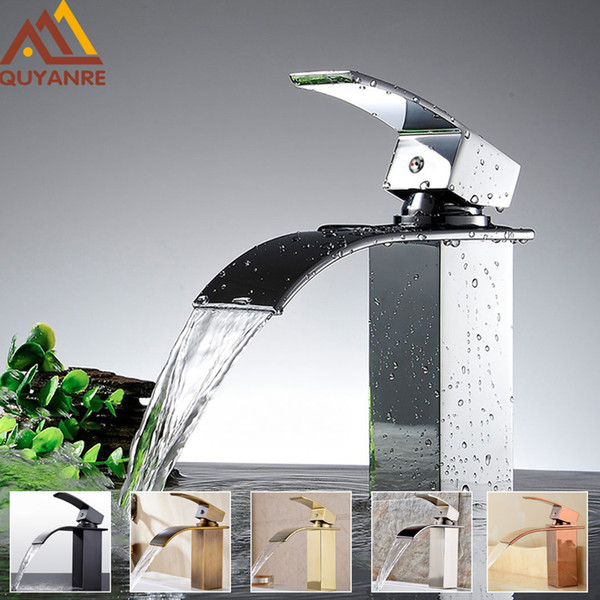 top popular Wholesale And Retail Free Shipping Modern chrome Waterfall Spout Basin Faucet Single Handle Deck Mounted Mixer Tap 2021