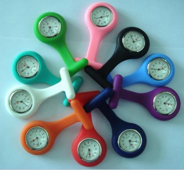 NEW fashion candy colors watch silicone rubber soft pin nurse pocket watch unisex ladies women doctor medical hang watches free ship