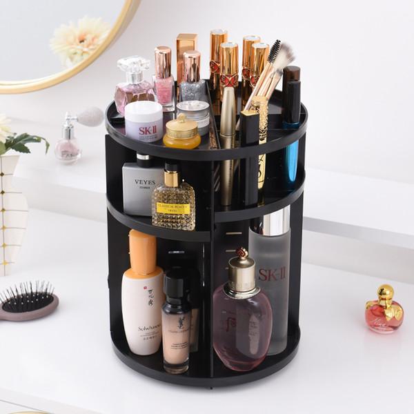 360 Rotación de Maquillaje Caja de Almacenamiento Organizador Ajustable Plástico Cepillos Cosméticos Titular de la Barra de Labios Maquillaje Joyería Contenedor Soporte