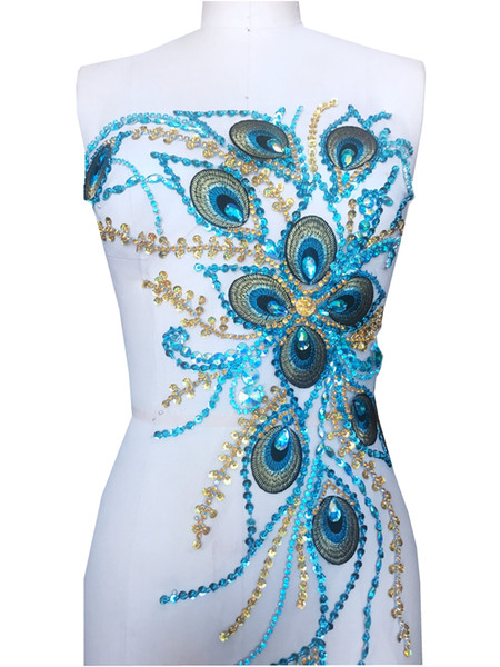 sew on light blue rhinestones applique on white mesh crystal trim Peacock feather patches for dress 59*34cm