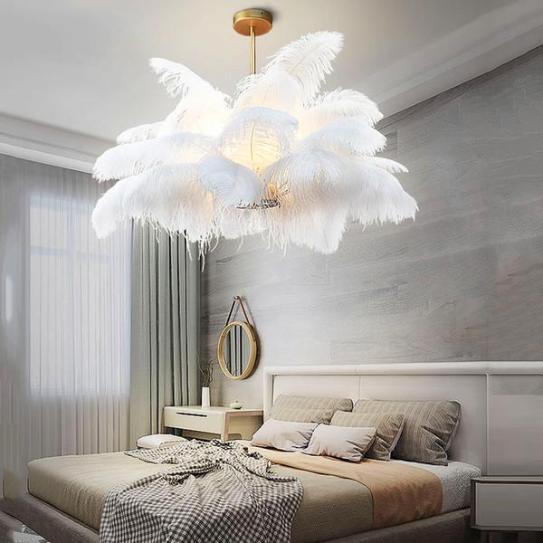 Nordic LD Luci del pendente naturale piuma dello struzzo LOFT Lampada a sospensione a LED da letto Soggiorno Ristorante Illuminazione Deco lampada a sospensione