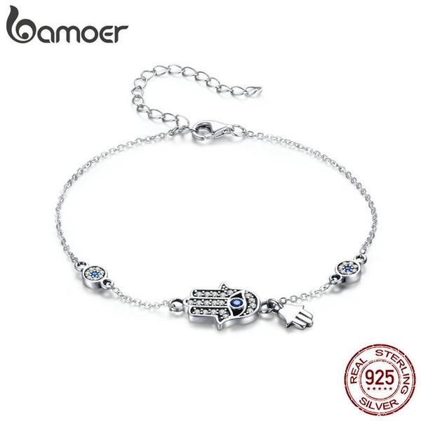BAMOER auténtica plata de ley 925 Mano de Fátima cadena del acoplamiento para SCB079 joyería de las mujeres pulsera clásico broche de langosta