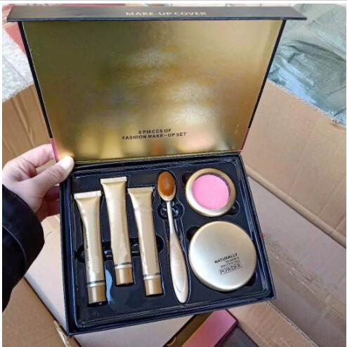(in stock)hot Newest makeup set 6 in 1 cosmetic kit Concealer+powder+ blush+makeup brush with Gift Box DHL Free shipping +GIFT