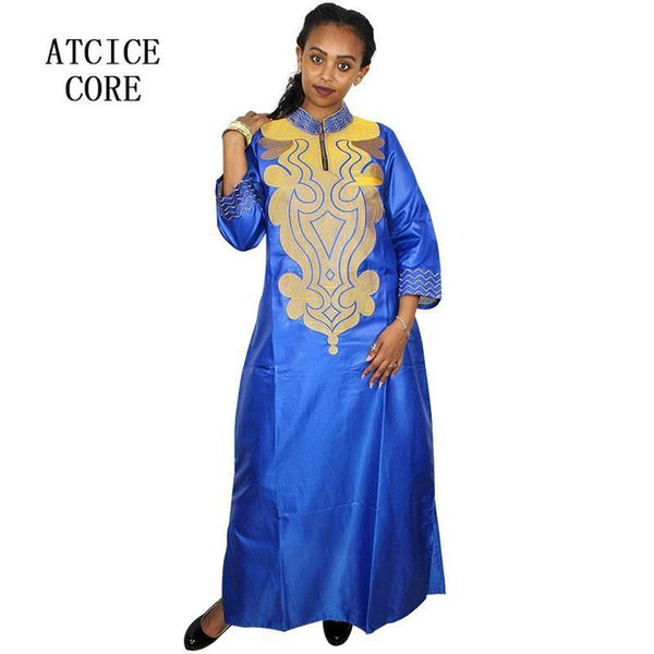 African Bazin Embroidery Design Dress Soft Material Long Dress Without Scarf La009#