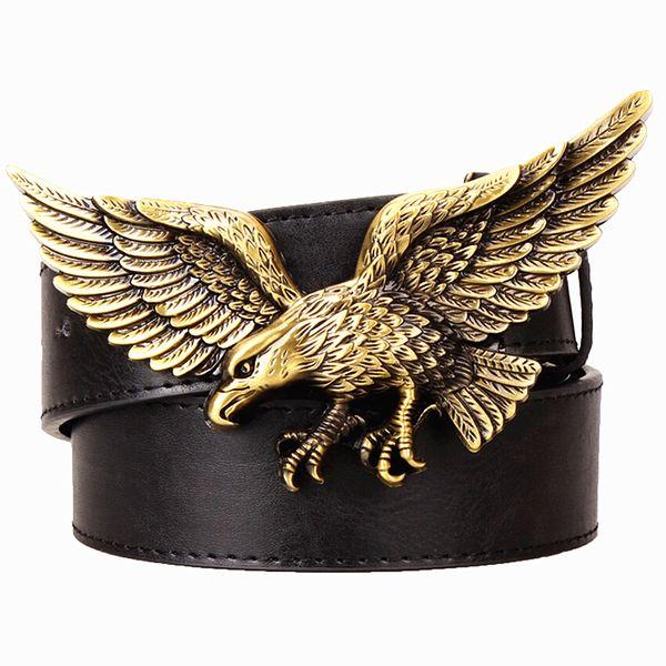Wild Personality Men's belt metal buckle Golden Flying eagle belts hawk punk rock style trend women decorative belt for men gift