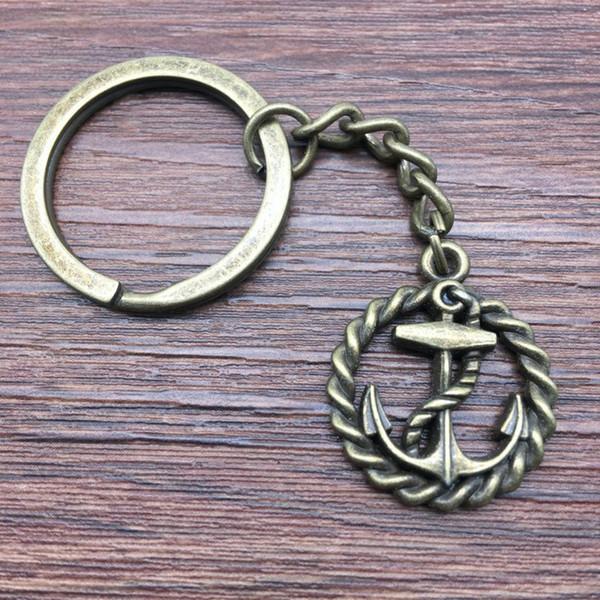 Keyring Anchor Keychain 26x21mm Antique Bronze New Fashion Handmade Metal KeyChain Souvenir Gifts For Women