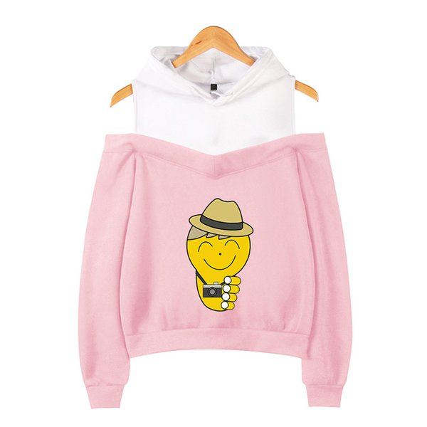 XS-2XL D SHOW Hoodie Cartoon Characters and Camera Printed Long Sleeve Inside Fleece Casual Pullover Hoodies Out Shoulder Sweatshirt Jacket