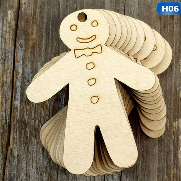 10PCS Christmas Wooden Pendants Ornaments 26 Styels DIY Wood Crafts Xmas Tree Ornaments Christmas Party Decorations Kids Gift