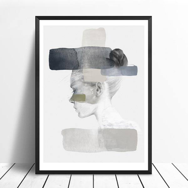 Moderno ritratto nordico Poster e stampe Wall Art Ritratto della tela di canapa Pittura Immagini per soggiorno Home Decor No Frame