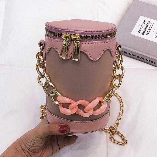 Small bag female 2019 new Korean fashion sense of nature wild chain handbag shoulder Messenger cylinder bag