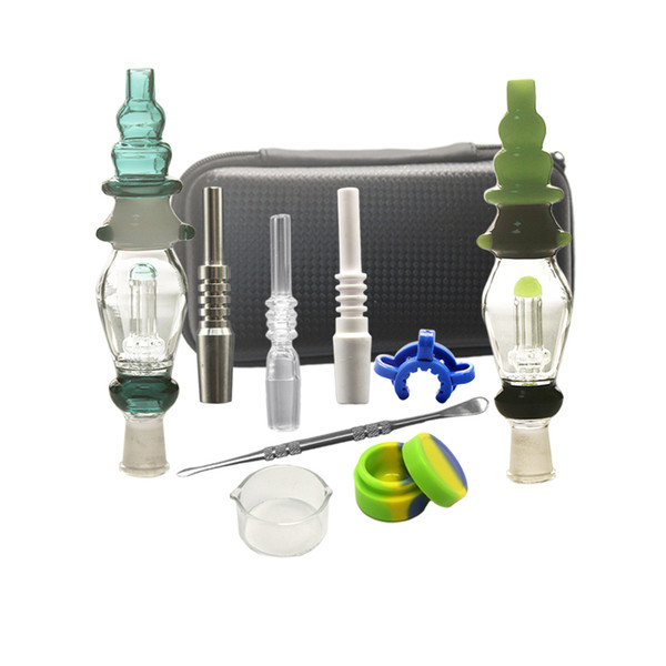 New Nector Kit 10mm 14mm Joint Dab Straw Glass Water Pipes Oil Rigs With Titanium Nail Ceramic Tip Glass Bongs Dabber Dish
