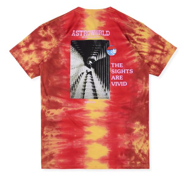 19SS Трэвис Скотт Astroworld Фестиваль Run Tie Dye Tee Tie окрашенный с коротким рукавом Печать Fashion Street Skateboard Дышащий Повседневная HFSSTX012