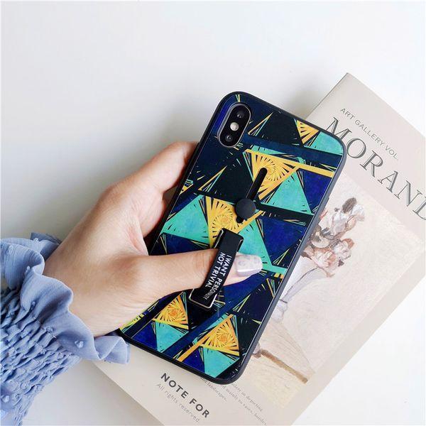 Geometrik Temperli Cam Durumda Tutucu Standı Kickstand Yüzük iphone Xs Için max 6 s 6 7 8 Artı X Xr Kapak