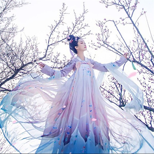 Woman Chinese Traditional Dance Costumes Elegant Fairy Performance Hanfu Embroidery Oriental Tang Ancient Photography Dress CJ191118