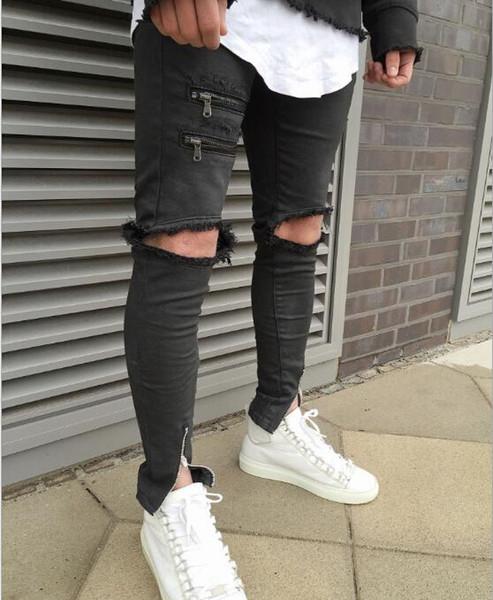 Üst Tasarım Erkekler \ '; S Siyah İnce Pantolon Fermuar Dekore Edilmiş Erkekler \'; S Kot Bağbozumu Kaykay Moda Erkekler \ '; S Pantolon