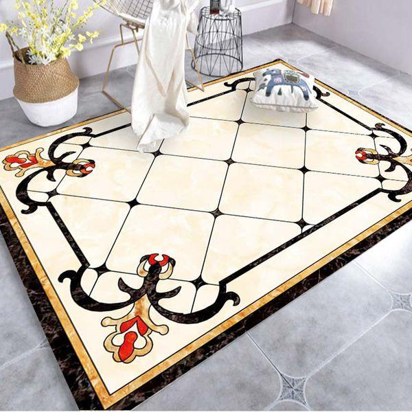 Estilo de mármol europeo sala de estar de lujo alfombra cojín sofá dormitorio alfombras de gran tamaño salón cocina alfombra pasillo personalizado