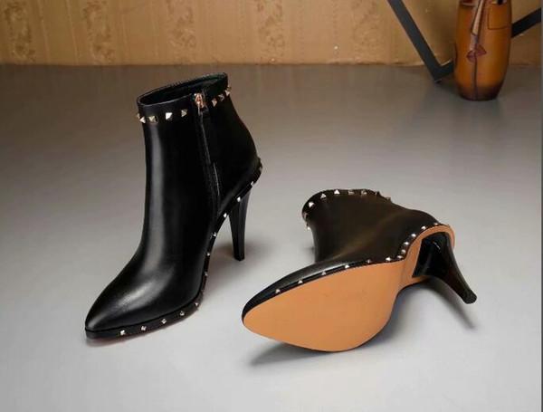Date de haute qualité hiver femmes bottines en cuir véritable talon stilello rivets zip bottes Martin bottes à bout pointu chaussures de mariage
