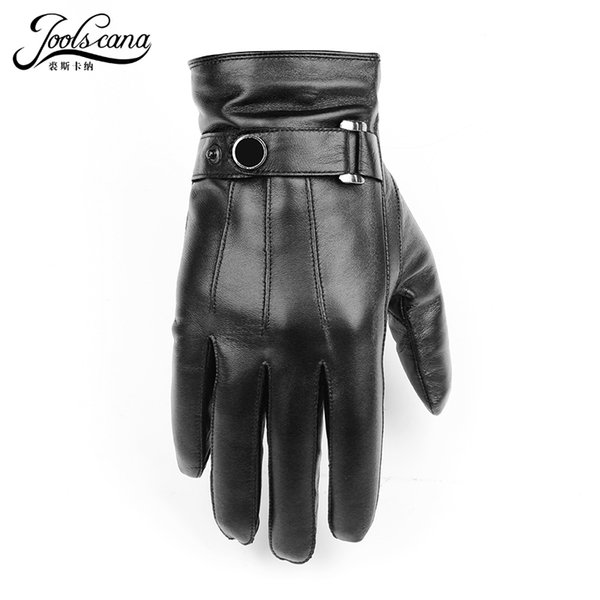 Joolscana Gloves Natural Leather Men Winter Sensory Tactical Gloves Made Of Italian Sheepskin Fashion Wrist Touch Screen Drive MX190817