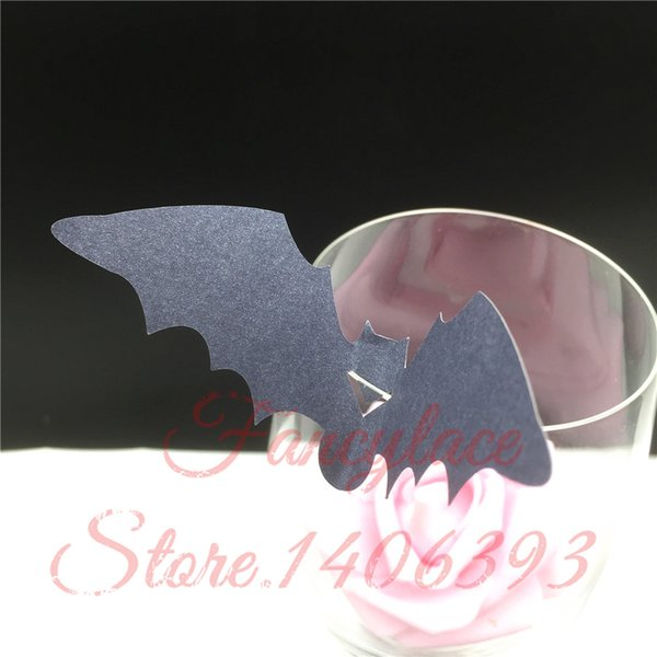 60Pcs DIY Bat Shape Place Card Wedding Birthday Party Wine Glass Cup Cards Table Decoration Halloween Birthday Party Decoration