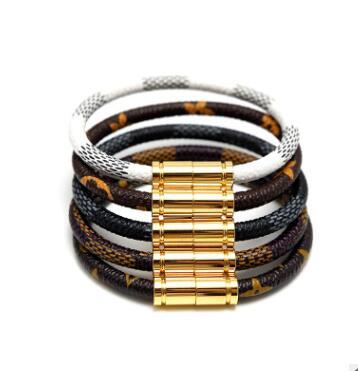 wholessale luxury Classical Multi-layer Handmade Leather Chain Weaved Man Bracelets Fashion New Magnet Clasp 316L Stainless Steel Wristband