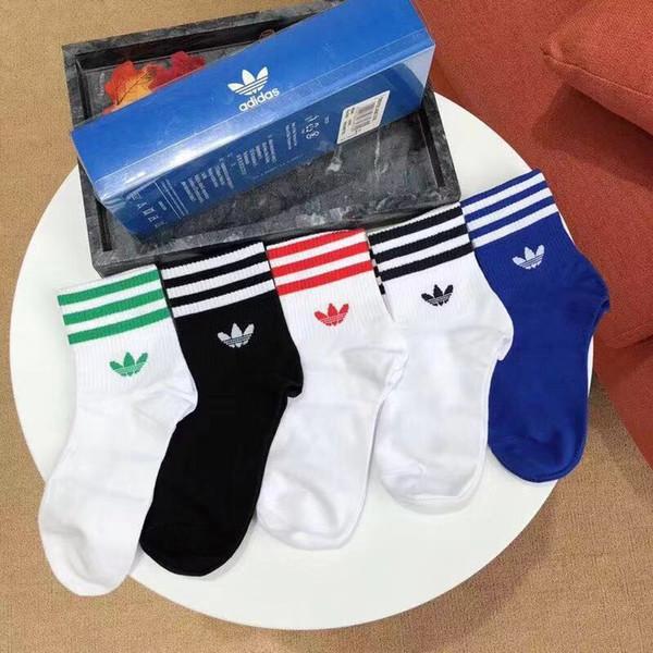 [Com caixa] Adidas Unisex Designer Dos Homens Das Mulheres Meias Homens Meia Carta Longa Respirável chaussettes de Algodão Elite Elastic Sports Sock Meias Tornozelo SCA17