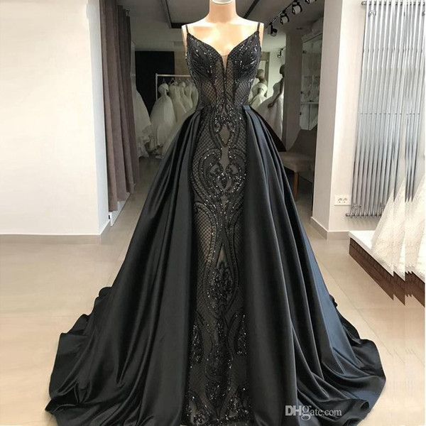 New Long Black Sereia Vestidos de Baile 2019 Glitter Abendkleider Árabe Árabe Plus Size Vestidos de Noite com Saia Destacável hochzeitsklei