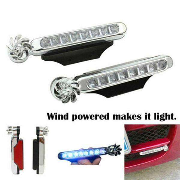 2019 Nueva viento potencia 8 del coche LED DRL luz de niebla Advertencia cabezas automática de luz de lámpara del coche 2 piezas