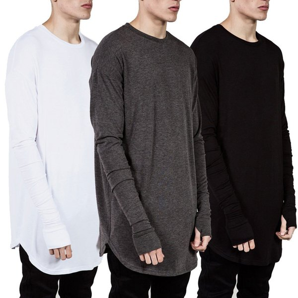 Nuevas tendencias para hombres Camisetas Super largas de manga larga Camiseta Hip Hop Arco dobladillo con dobladillo curvo Lateral Cremallera Tops camiseta