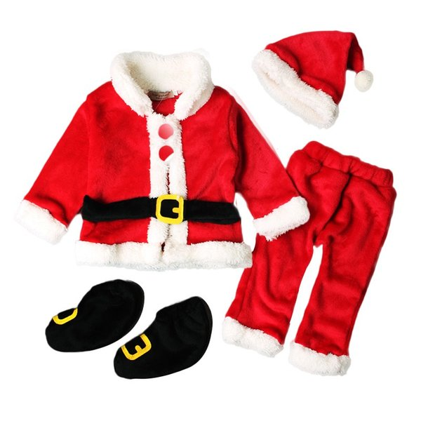 4Pcs Infant Baby Girls Boys Santa Claus Red Tops Outerwear+Pants+Hat+Socks Outfit Set Costume 0-18M