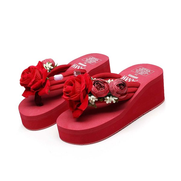 2019 New Arrival Women Fashion Platform Flip Flops Mid Heel Beach Sandals Hand-made Floral Wedges Slippers Beach Shoes