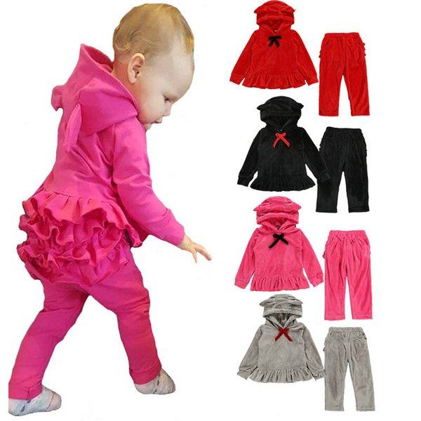 Ins velvet kids tracksuit girls tracksuit kids designer clothes girls sweat suit hoodie+trousers kids outfits girls clothes A7736