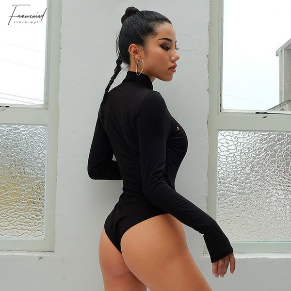 Sexy Hole Black Woolen Bodysuits Women Autumn Keep Warm Stand Collar Winter Thumb Sleeve Bodycon Sheer Bodysuit