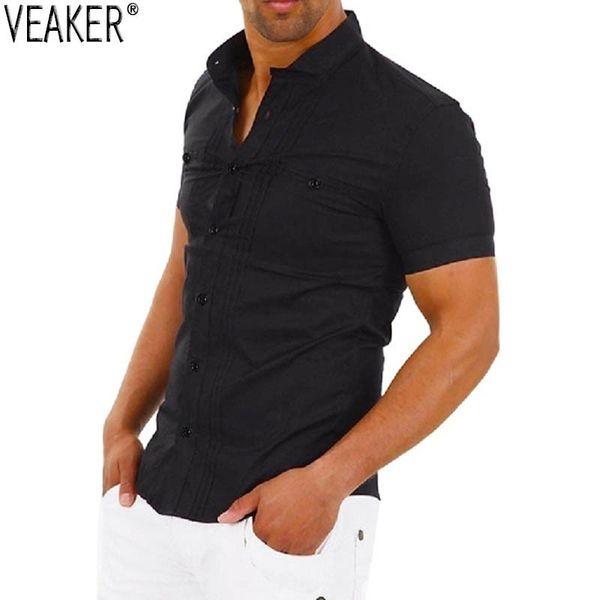 2019 New men Black White Short Mouw Male Mandarin collar Slim Fit Casual Shirts Men Effen Color Overshirt tops S -2XL