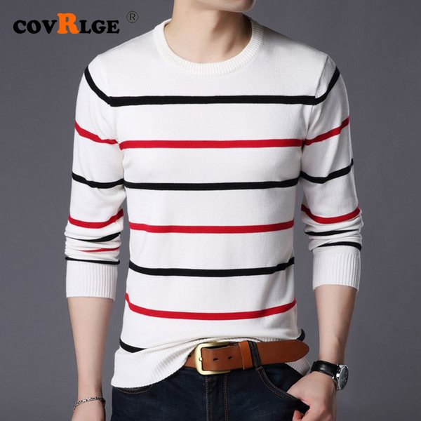 covrlge pullover men sweater brand clothing 2019 autumn winter wool slim fit sweater men casual striped pull jumper mzl049
