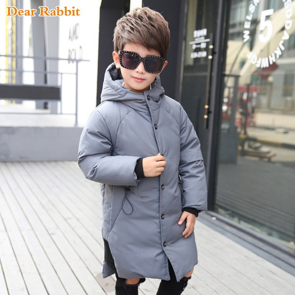 2018 Children overcoat Warm Winter Down Jacket Parkas for Teenage Coat Kids Boys Hooded Long clothes Windproof clothing 110-170