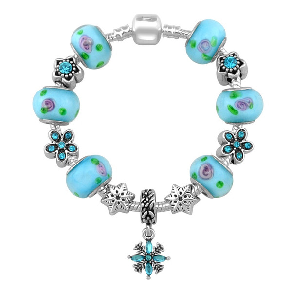 New Design Flower Snowflake Charm Pandora Bracelets For Women Fashion Bracelet Diy Jewelry With Gift Bag 18 19 20 21CM